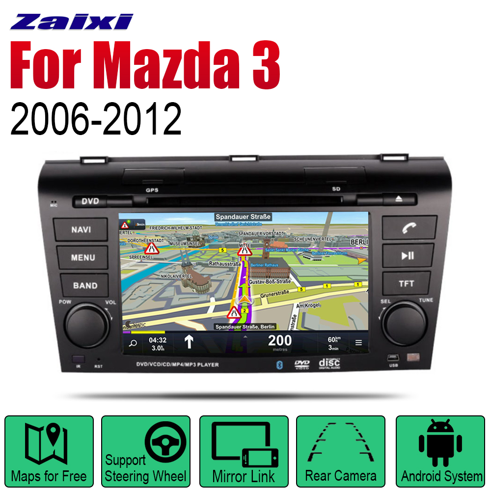 ZaiXi <font><b>Android</b></font> Car Radio Stereo GPS Navigation For Mazda 3 2006~2012 Bluetooth wifi <font><b>2din</b></font> Car Radio Stereo Multimedia Player Audio image