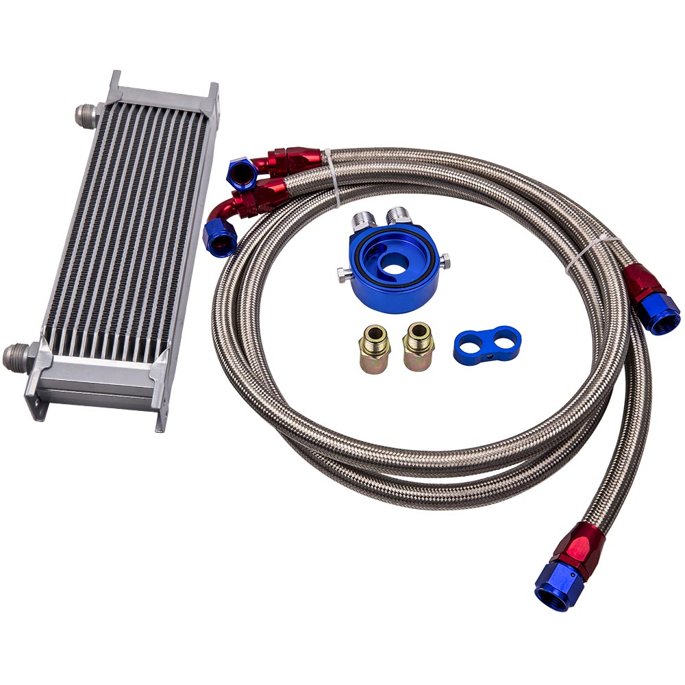 13 Row Oil Cooler & AN-10 Outlet +Pair Of Braided Stainless Steel Hoses Kit