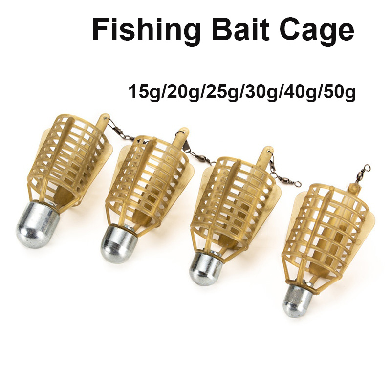 Fishing Bait Cage 20g/30g/40g/50g Connector Sinker Feeder Bait Holder Thrower Carp Fishing Feeder Tackle Tool