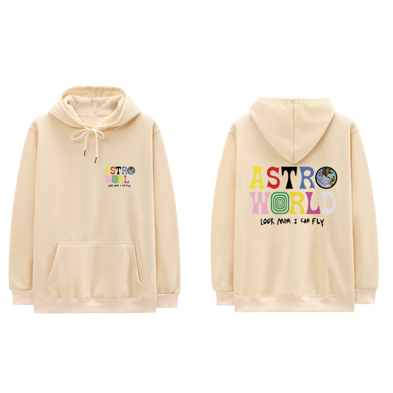 Fashion Travis Scott Hoodie Sweatshirts Look Mom I Can Fly Letter Print Hoodies Men Women ASTROWORLD Hip Hop Swag Cotton Hoody(China)