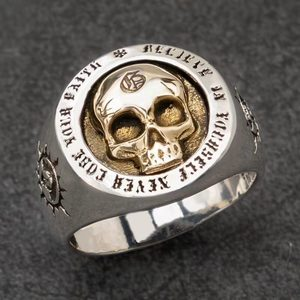 Men's Fashion Hip-Hop Rock Gold-plated Silver Color Two-Tone Skull Ring Wear Jewelry Punk Bike Style