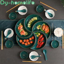 Moon-Plate Platter-Set Nordic Kitchen-Supplies Creative Green Phnom Penh Home Peacock