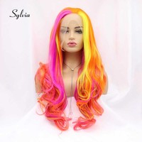 Sylvia Rainbow Color Wigs Yellow/Red/Purple/Orange Mixed Color Synthetic Lace Front Wigs Long Body Wave Hair Heat Resistant