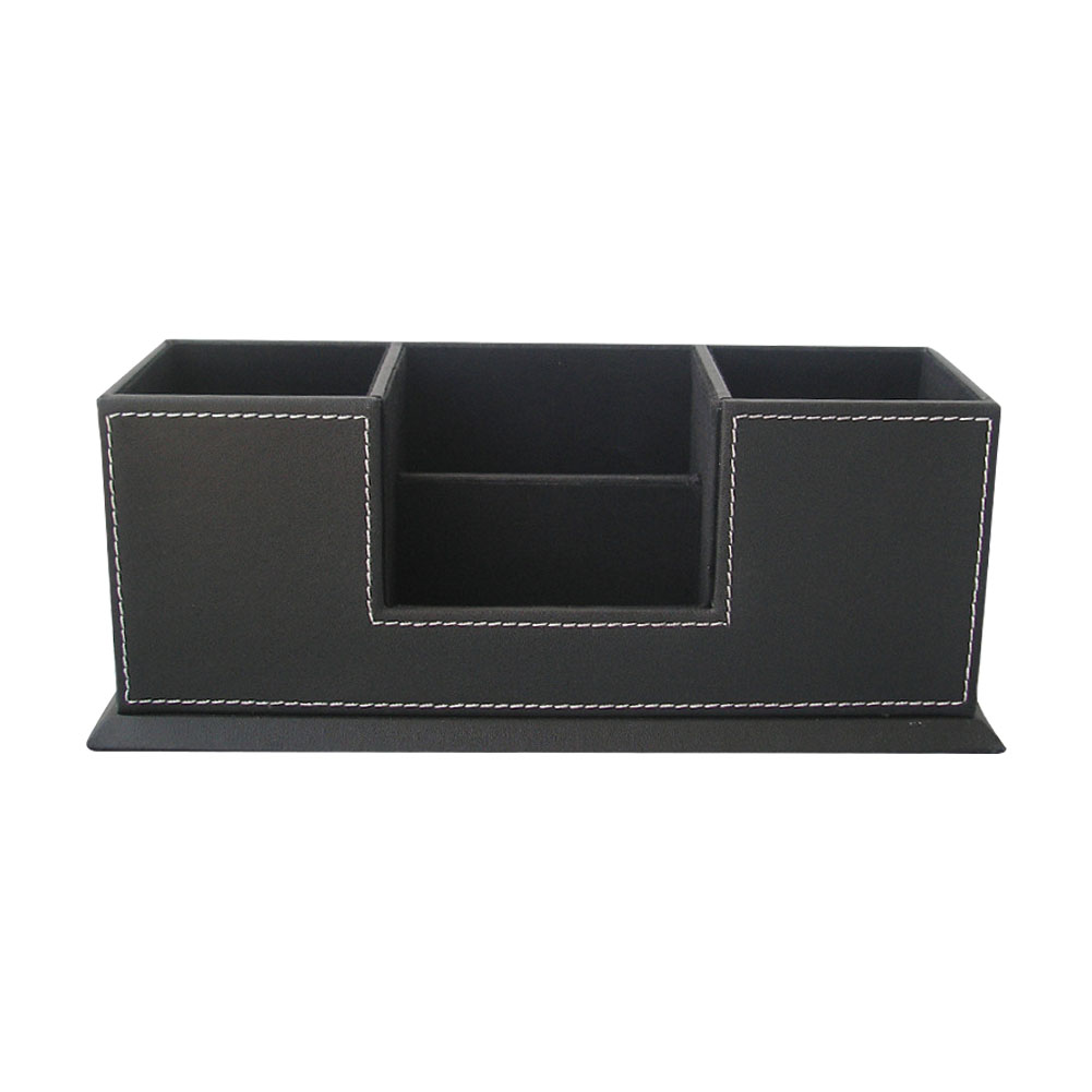 Desk Organizer Bins Card Pencil Storage Case Faux Leather Mobile Phone Office Stationery Home Pen Holder School 4 Compartment
