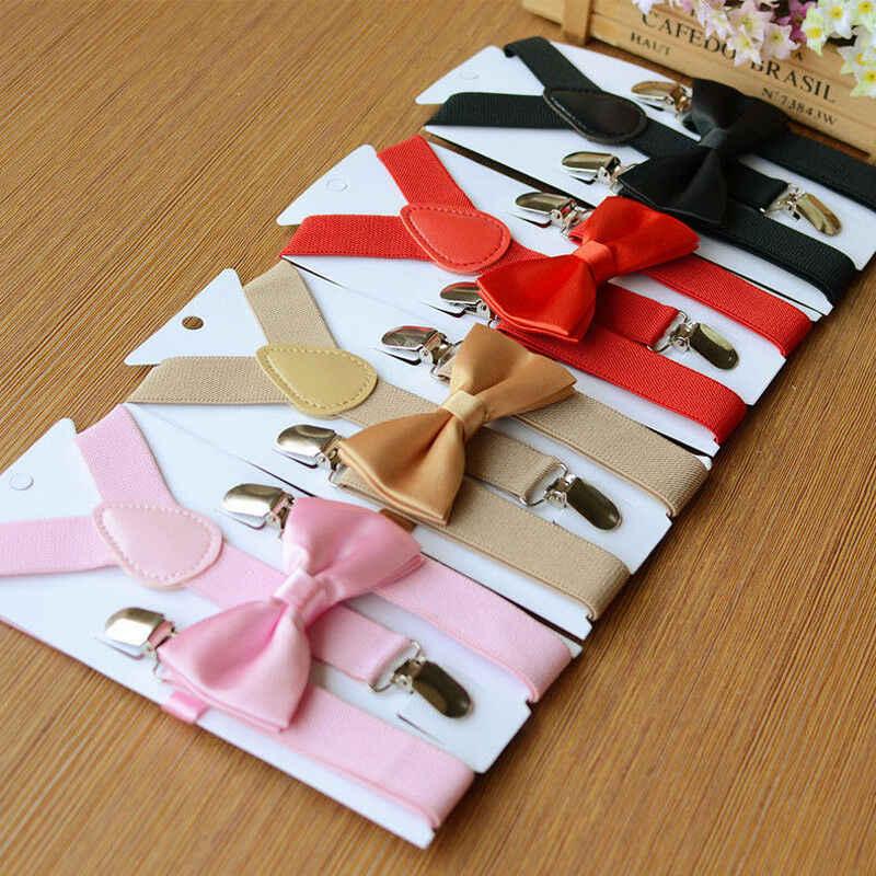 1 pc crianças suspensórios elásticos & gravata borboleta combinando smoking terno unissex meninos meninas bowtie crianças traje ajustável y-back cinta
