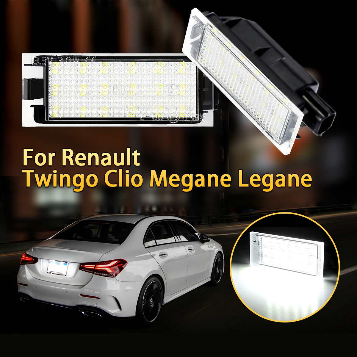 2X Car <font><b>LED</b></font> Number License Plate Lights For <font><b>Renault</b></font> Megane 2 Clio Laguna 2 Megane <font><b>3</b></font> Twingo <font><b>Master</b></font> Vel Satis image