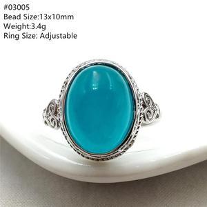 Image 5 - خاتم من الفضة الإسترليني 925 بحجر الأمازونيتي الجليدي الطبيعي الأخضر قابل للتعديل خاتم حريمي ورجالي بحبات كبيرة AAAAA