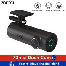70mai traço cam 1 s wifi carro dvr câmera completa hd 1080 p visão noturna app inglês controle de voz 70mai 1 s gravador de câmera do carro g sensor