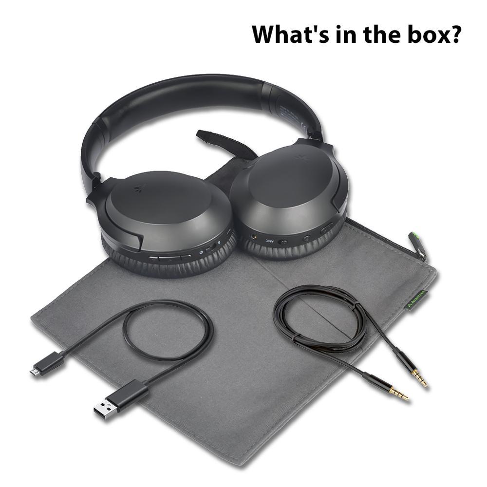 Avantree Active Noise Cancelling Hoofdtelefoon met Mic 35H Draadloze Bedrade ANC Over Ear Headset voor Vliegtuig Reizen - 6