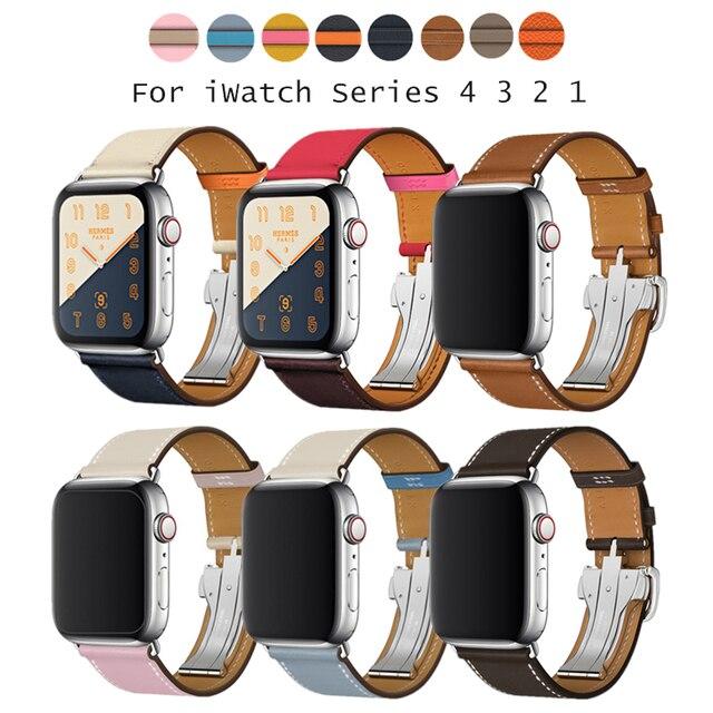 Herm логотип на металлической пряжкой ремешок для Apple Watch Series 4 3 2 1 38 42 ремешки для часов браслет из натуральной кожи ремешок для iWatch 4 ремень