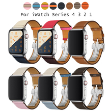 Herm Logo on Metal Buckle Band for Apple Watch Series 5 4 3 2 1 44mm 40mm Watchbands Genuine Leather Strap Bracelet iWatch