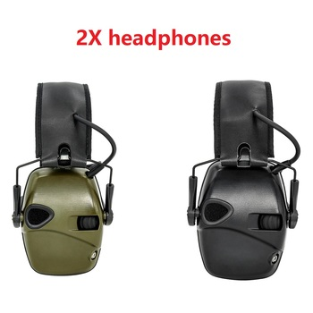 Electronic shooting earmuffs black and green headphones tactical hunting hearing protection ear protectors noise headphones
