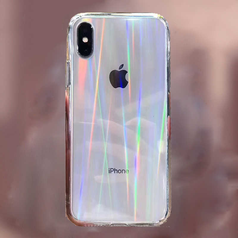 Gradiente arco-íris laser casos para iphone 11 pro xs max xr macio fundas para apple iphone 11 xr 6 s 7 8 plus claro acrílico capas