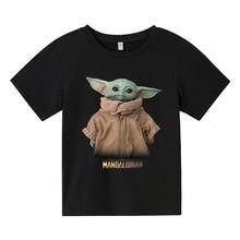 Bebê yoda crianças roupas meninos t camisa mandalorian grogu imprimir o pescoço de manga curta multicolorido meninas camiseta topo verão camisa