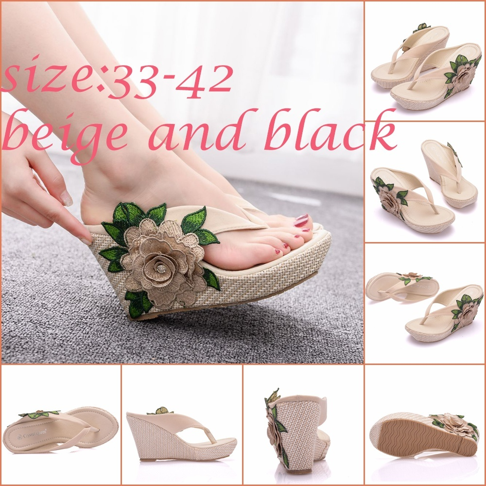 New Arrival Flip Flops Women Sandals Fashion Wedges Summer Slippers Shoes Elegant Flower Platform High Heels Shoes