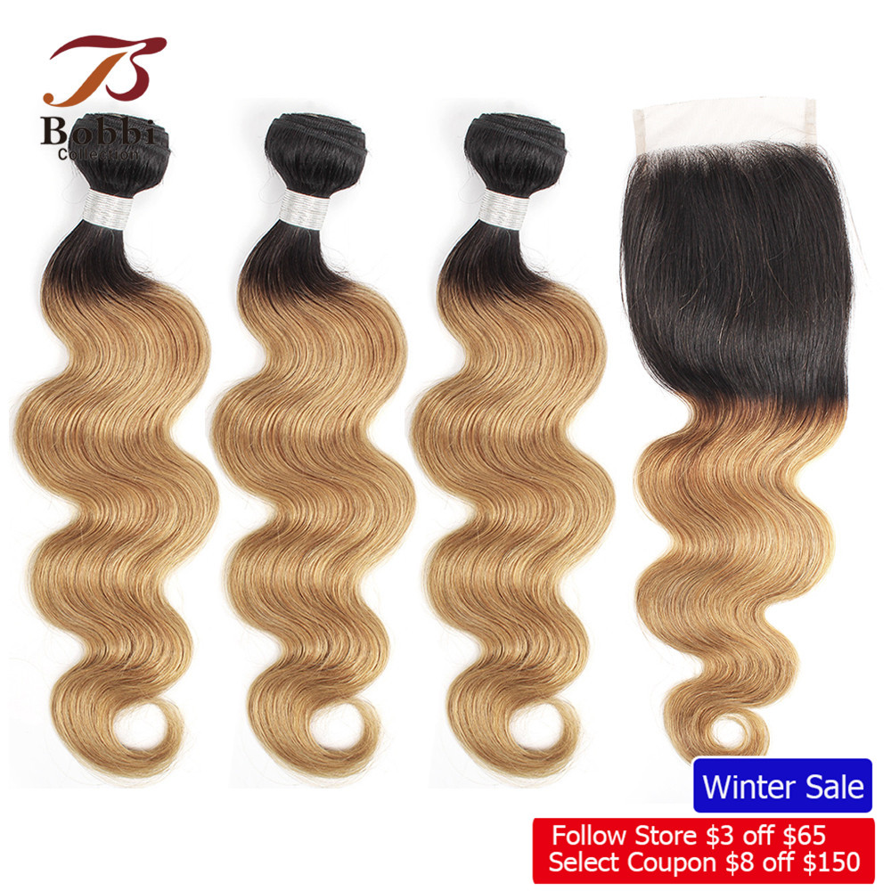 BOBBI COLLECTION Brazilian Body Wave T 1B 27 Honey Blonde Ombre Hair Bundles With Closure Pre-Colored Non Remy Human Hair Weave