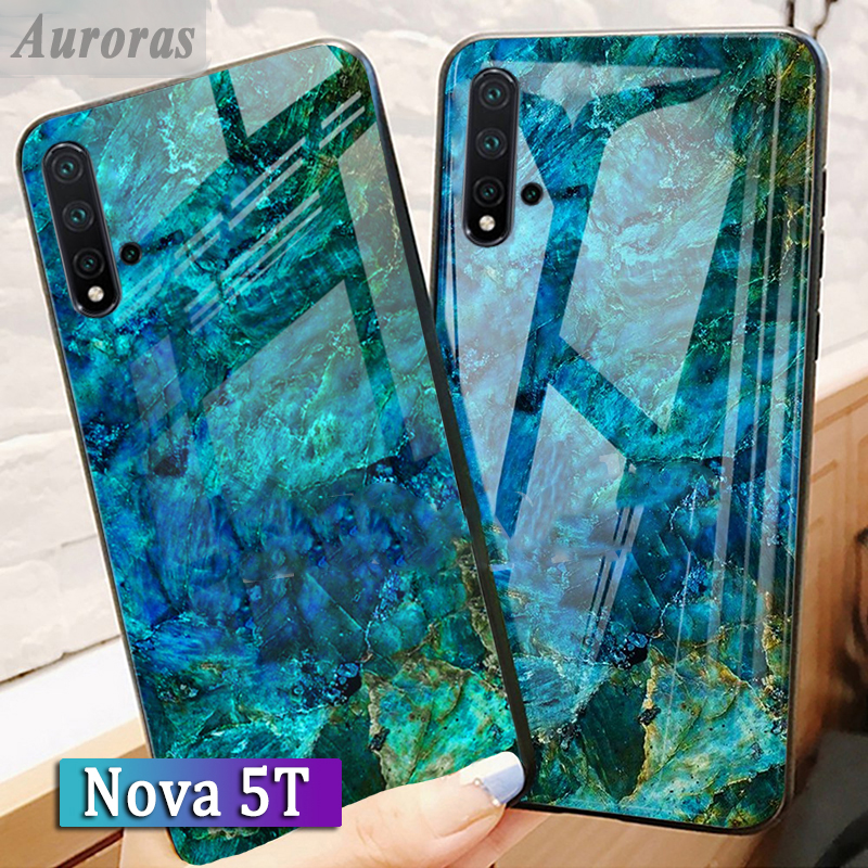 Auroras For HUAWEI Nova 5T Tempered Glass Case With Soft TPU Frame Shockproof Back For Huawei Nova 5T Cases