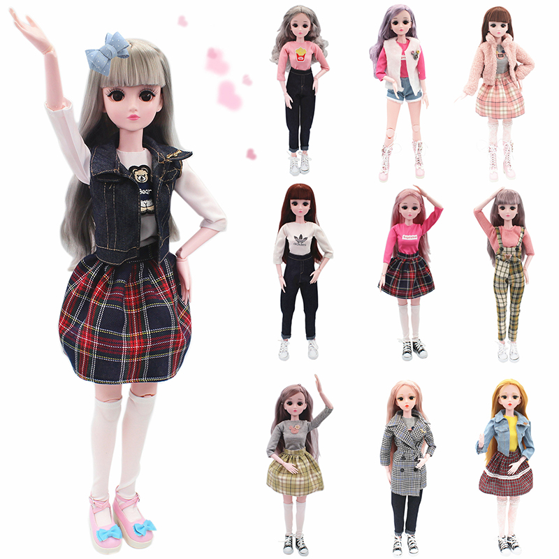60cm Bjd Doll With Clothes Daily Casual Wear Skirt Pants Vest Jeans White Skin Fashion 1/3 Dolls Gifts 4D Eyes Real Eyelashes