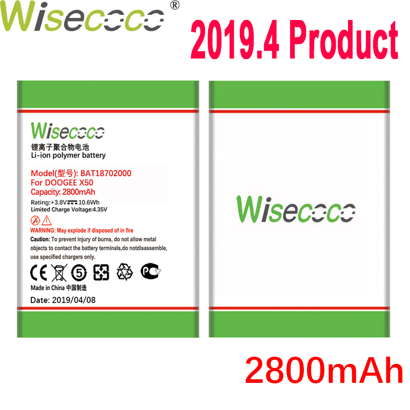 WISECOCO 2800mAh <font><b>BAT18702000</b></font> Battery For DOOGEE X50 Mobile Phone Latest Production High Quality Battery With Tracking Number image
