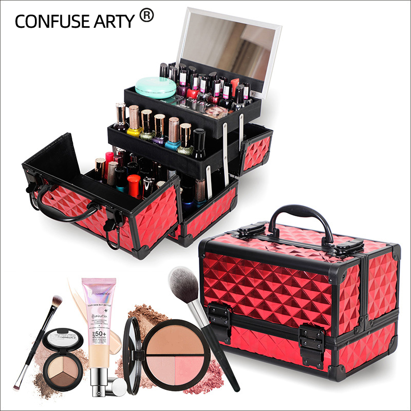 Professional cosmetic case hand held mirror two layer aluminum suitcase insert storage nail box tattoo bag make up case Cosmetic Bags & Cases  - AliExpress