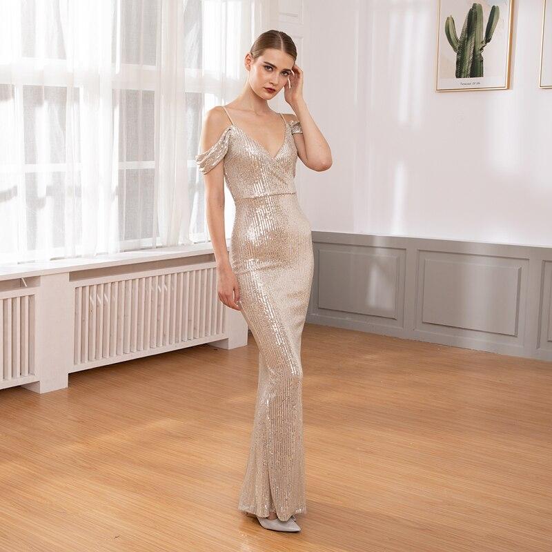 Off The Shoulder paski cekinami owinięte V Neck sukienka w dużym rozmiarze elastyczny Low Cut szczelina noga długi sukienka na imprezę w Suknie od Odzież damska na AliExpress - 11.11_Double 11Singles' Day 1