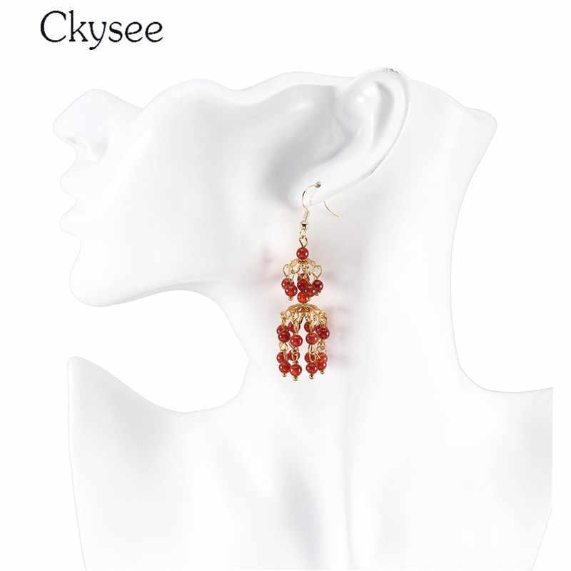 2019 Handmade Bohemia kolczyki dla kobiet białe czarne frędzle koraliki wiszące dynda ślub kolczyk Christmas Gift Brinco Jewelry