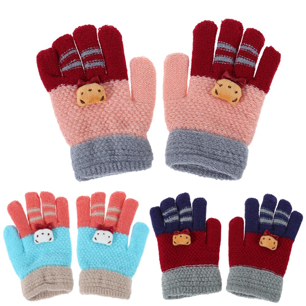 Fashion Kids Winter Gloves Boys Warm Knitted Mittens Full Finger Magic Glove