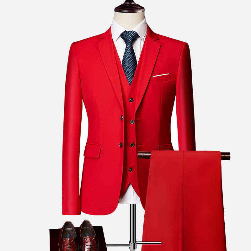 2019 мужское свадебное платье, смокинг жениха, мужские костюмы, индивидуальный костюм, мужской Красный Блейзер, 3 шт. куртка + брюки + жилет