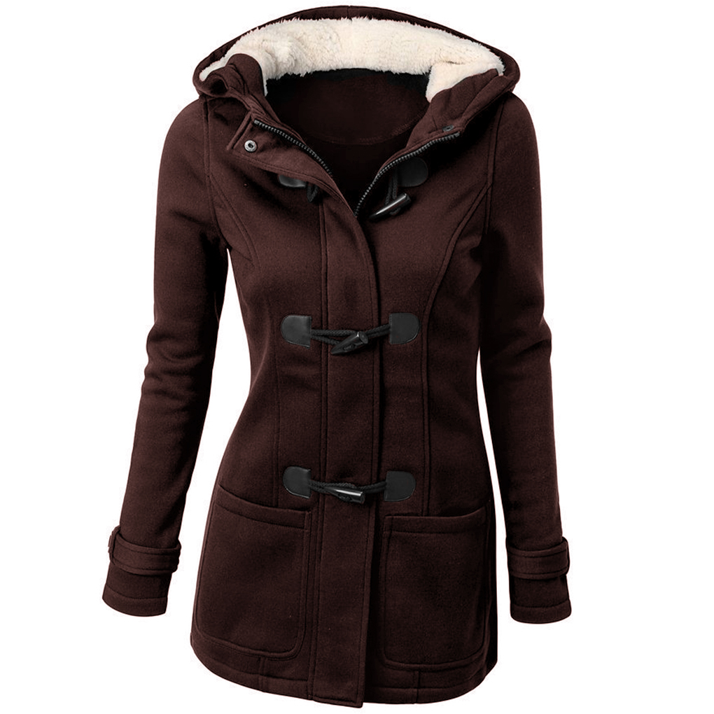 Women's Autumn Winter Overcoat Full Sleeve Hooded Horns Buckle   Parkas   Outwear Thickening Wool Jacket