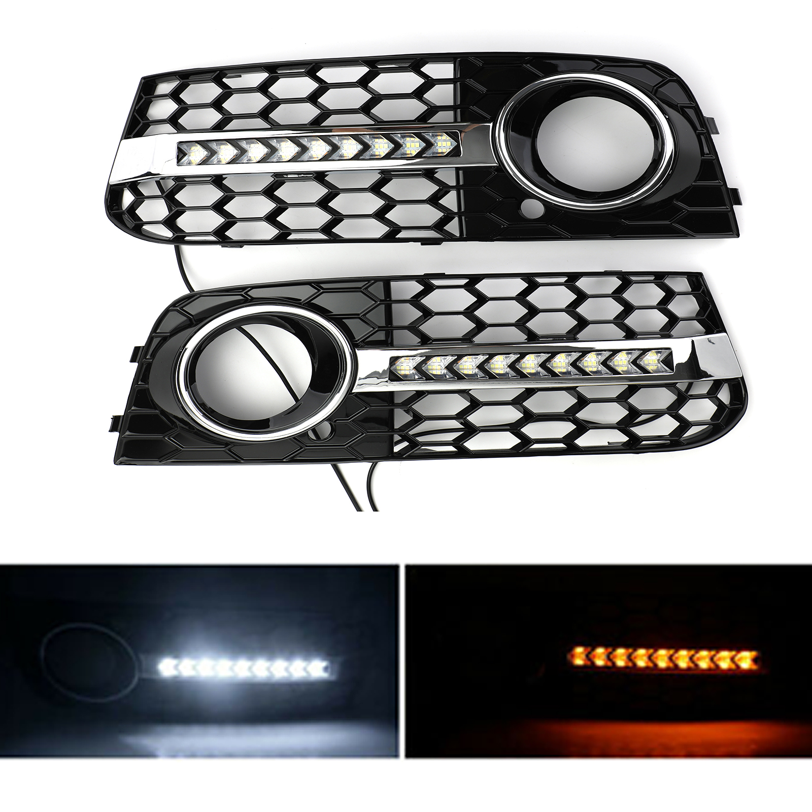 Areyourshop Flowing LED Honeycomb Mesh Grille Fog Light Turn Signal DRL For AUDI A4 B8 2009-2011 Fog Light Grille Car Auto Parts
