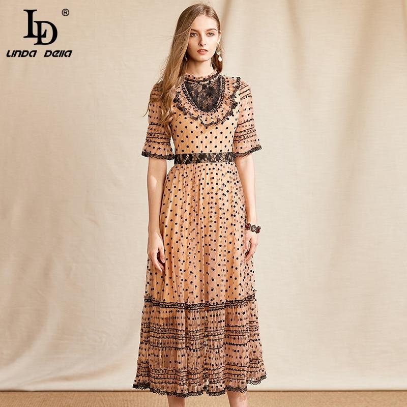 LD LINDA DELLA Fashion Designer Vintage Dot Mesh Dress donna manica corta increspature pizzo vita alta abito estivo Midi Vestoidos