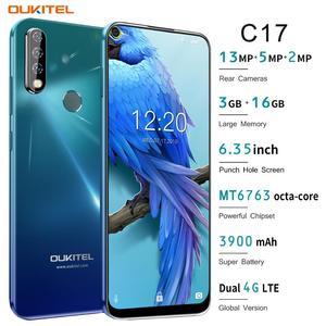 Image 2 - OUKITEL C17 6.35 potrójne kamery smartfon MT6763 Octa Core z systemem Android 9.0 3GB 16GB Face ID linii papilarnych 4G telefon komórkowy 3900mAh