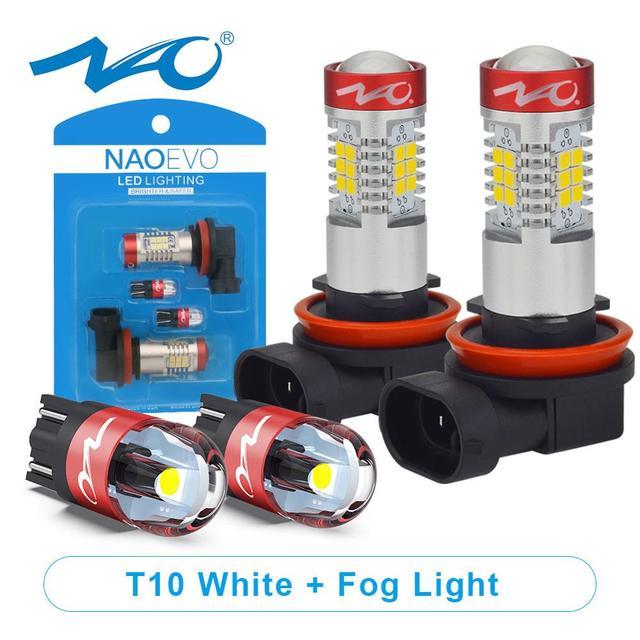 NAO H11 светодиодный HB4 9006 HB3 9005 Автомобильный светодиодный H10 H8 H16 противотуманный светильник W5W лампа H9 2835SMD 2600LM 12V Автомобильная ходовая лампа белого цвета 6000K
