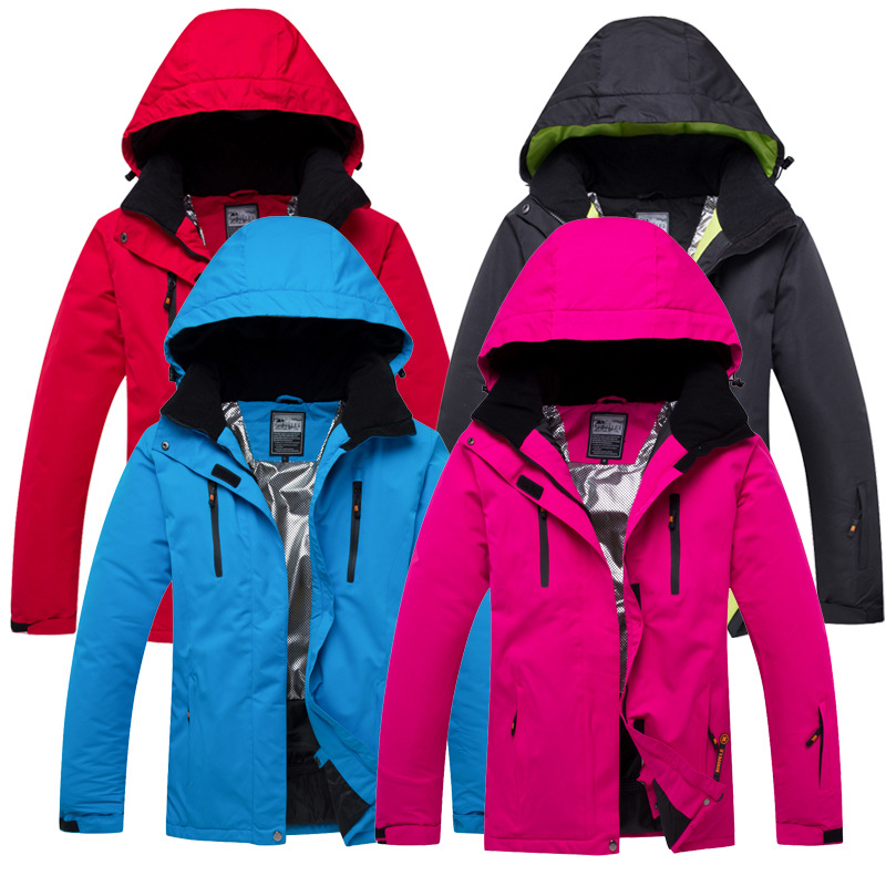 Solid Hooded Winter Ski Jackets Outdoor Sport Thermal Waterproof Snowboard Jackets Climbing Snow Skiing Clothes