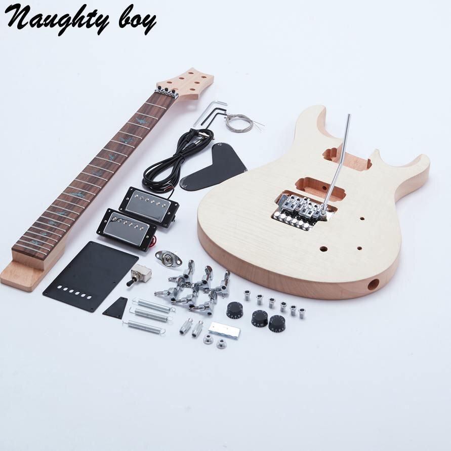 Docooler Unfinished DIY Electric Guitar Kit Basswood Body Maple Guitar Neck Rosewood Fingerboard with Tremolo Bridge