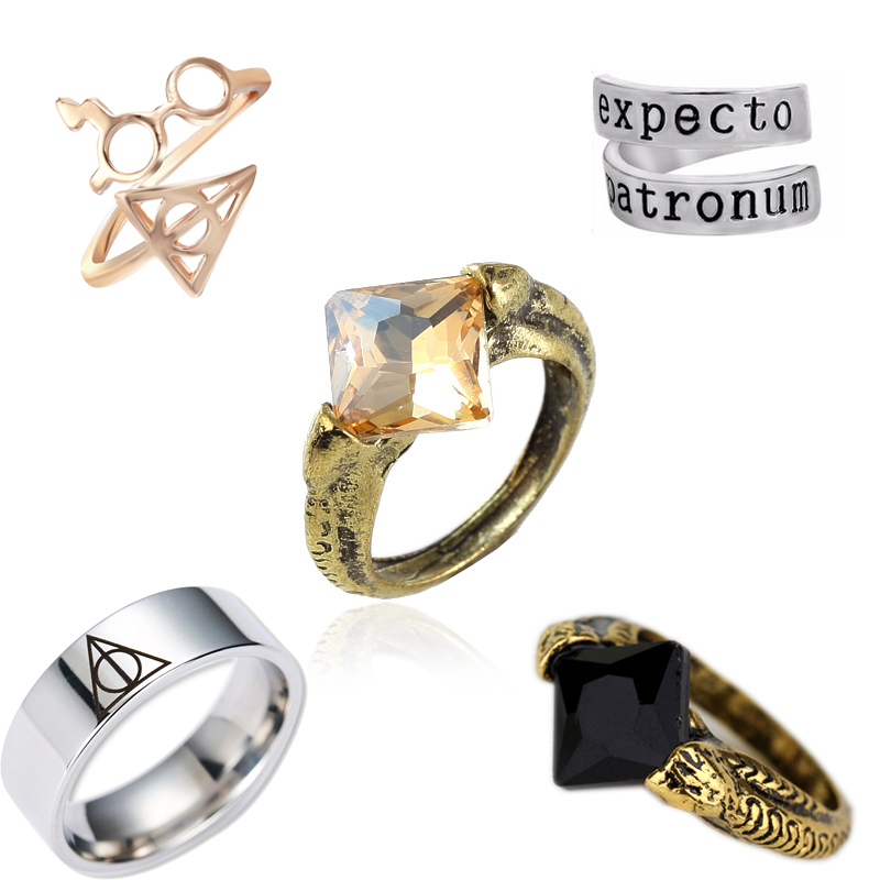 harry Deathly Hallows Triangle glasses Ring Magic stone stitch Charm Silver gold Rings For Men women Fashion Jewelry Accessories