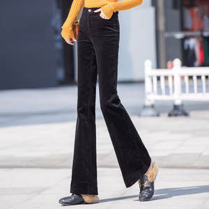 Black Corduroy Pants Female Micro Horn Slim High Waist Stitching Fashion  Flare Pants  High Waist   Winter Clothes Women