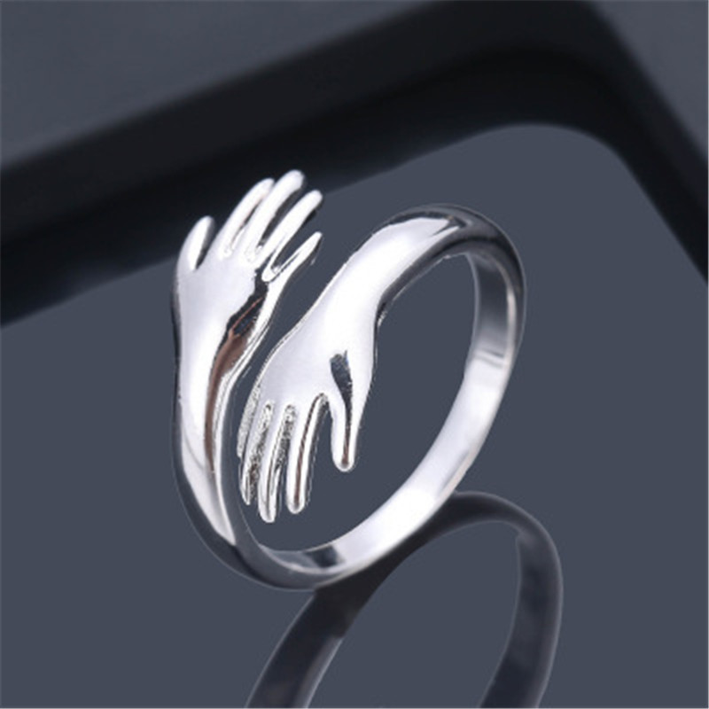 Romantic Gold Sliver Color Hand with Love Hug Rings Creative Adjustable Open Finger Rings for Women Men Couple Jewelry Gift 9
