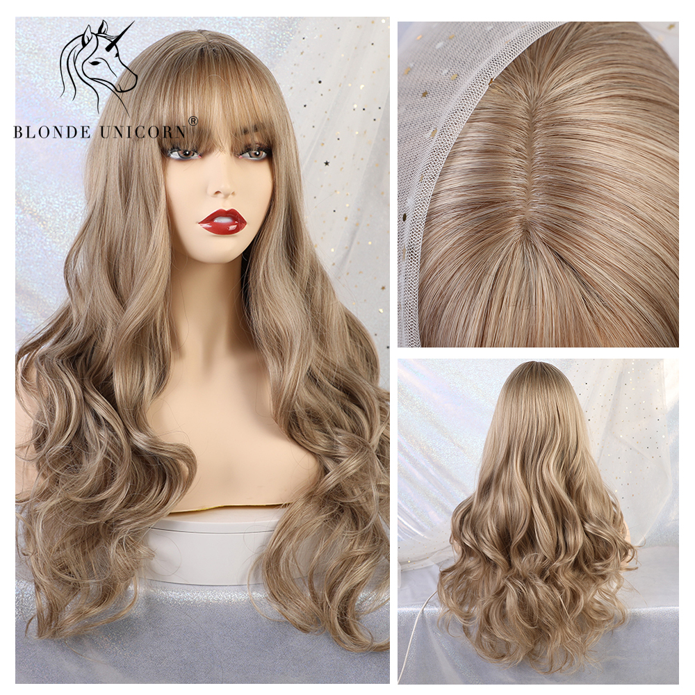 Blonde Unicorn Synthetic Long Wavy Wigs With Bangs Light Blonde Cosplay And Party Wig For White Women 8 Colors