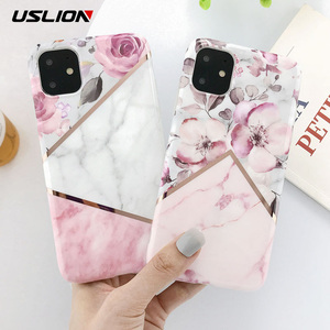 USLION Electroplate Marble Flower Phone Case For iPhone 11 Pro Max X XS XR Xs Max Cases For iPhone 6 6s 7 8 Plus Soft IMD Cover(China)