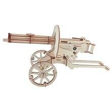 Тяжелый пулемет DIY 3D деревянная головоломка по дереву сборочный Набор для резки деревянных игрушек для рождественского подарка 3098