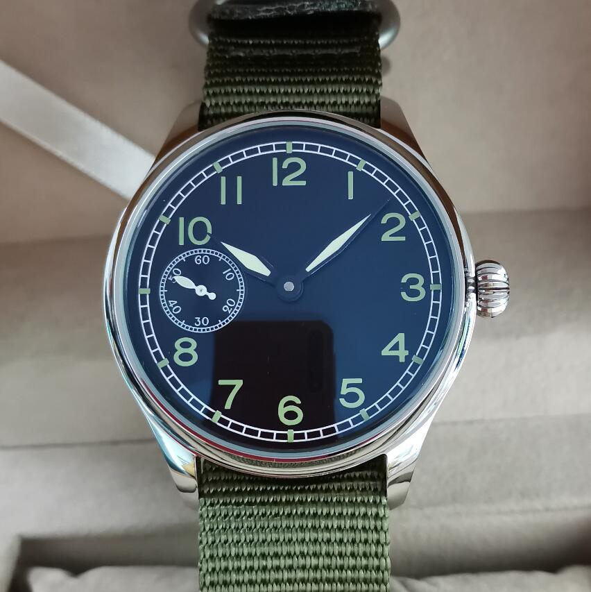 44mm Pilot not have logo Mechanical Hand Wind Men's Watch Black dial Green number Mineral/Sapphire Seagull st3600 movement G051