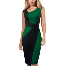 Vfemage Womens Elegant Asymmetric Neck Contrast Colorblock Patchwork Work Business Office Casual Party Bodycon Pencil Dress 123(China)