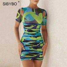 Sibybo imprimir oco para fora das mulheres bodycon vestido outono o pescoço manga curta mini vestidos senhoras sexy ruched vestido de natal
