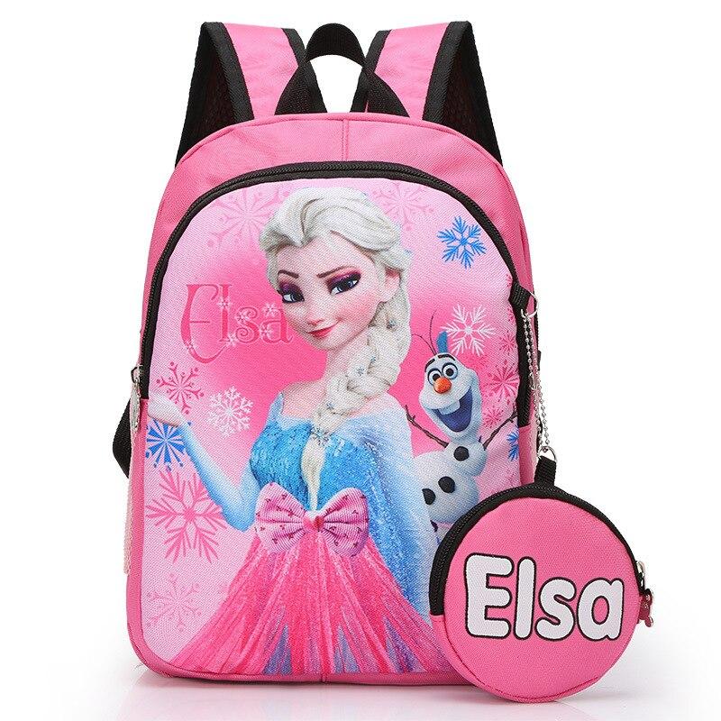 2pcs Disney Princess 3-6 Years Old Schoolbag+coin Purse Frozen Elsa Girl Boy Handbag Children Backpack Kindergarten Backpack