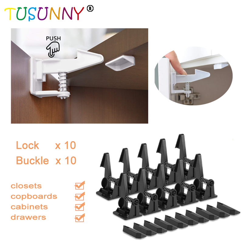 TUSUNNY 10/20 Pcs Baby Security Cabinet Door Lock For Kids Safety Lock Children Protection Drawer  Lock