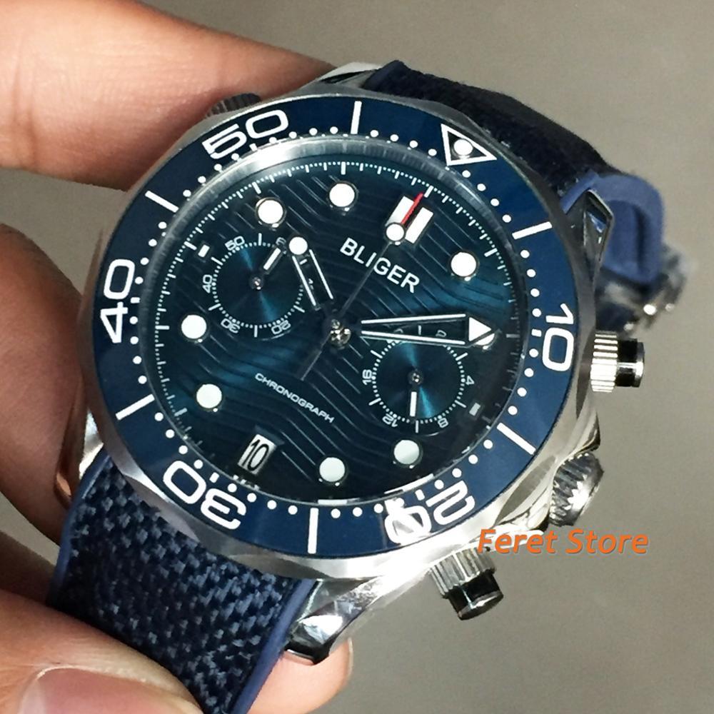 Bliger New 41mm Silver Case Sapphire Crystal Ceramic Bezel Blue Dial Date Rubber Strap Chronograph Quartz Mens Top Luxury Watch