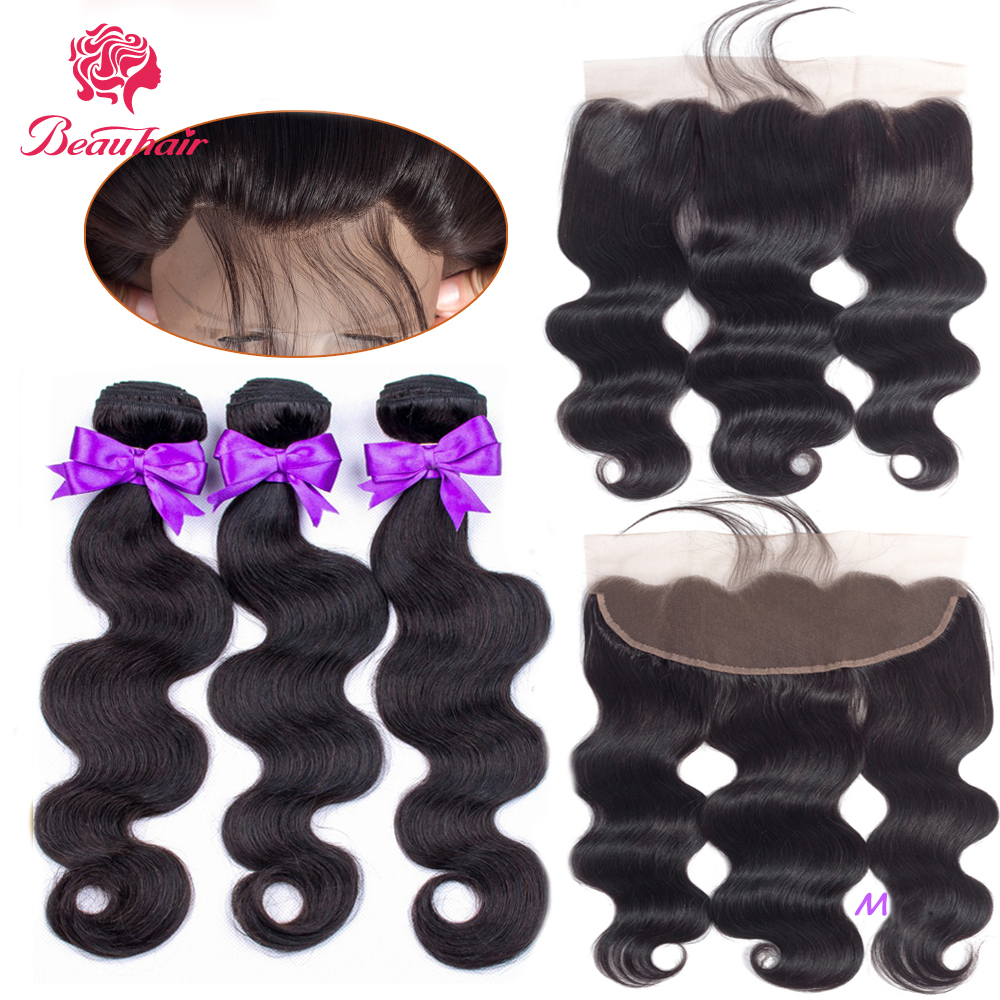 Beauhair Body Wave Human Hair Bundles With Closure Malaysian Bundles With 13*4 Lace Frontal Non Remy With Bundles Hair Extension