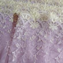 1 метр 21,7 см в ширину желтые цветы вышитые кружева отделка Фиолетовый Тюль Нижнее белье Одежда Аксессуары Бюстгальтер швейная ткань