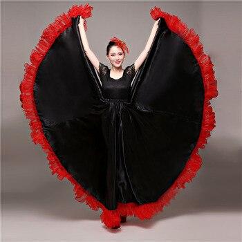 Spagnolo Corrida Ballo Flamenco Gonna Sala Da Ballo di Arte di Stile Delle Donne del Raso Zingaresco Del Vestito Rosso Della Fase di Usura di Prestazione Del Costume